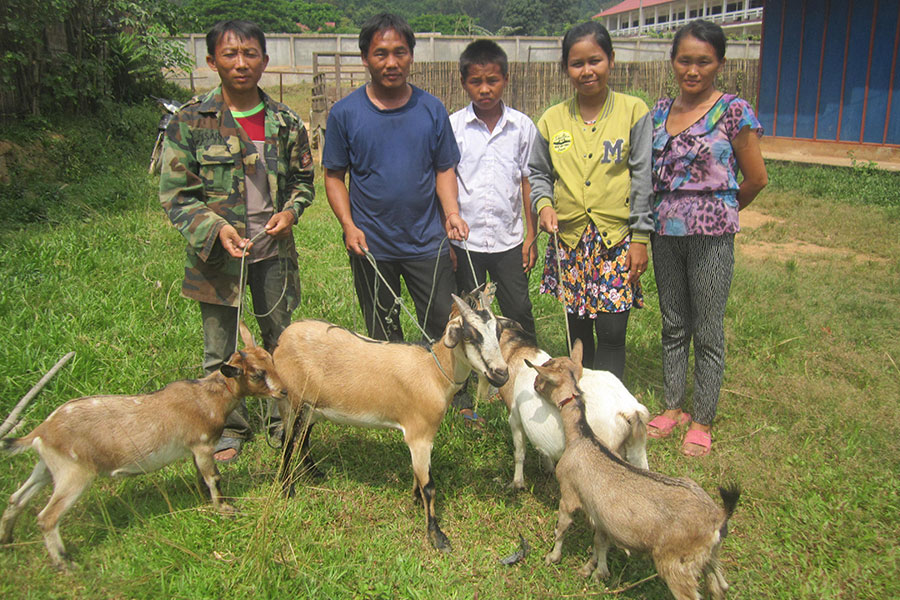 Participants in the goat pass-on scheme with their goat production