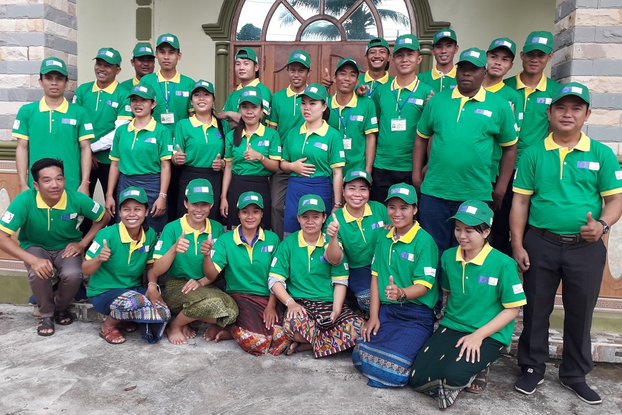 The field team ready for action with their new project T-shirts and hats